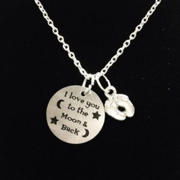 I Love You To The Moon & Back Baby Footprints New Mom Gift Mother Necklace