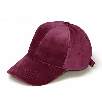 Soft faux suede adjustable baseball cap