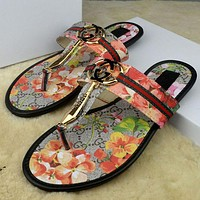 GUCCI Stylish Women Flower Letter Print Sandal Slipper Shoes Flip Flops I
