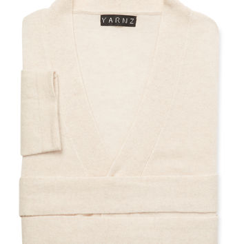 Yarnz Cashmere Knit Robe - Cream/Tan