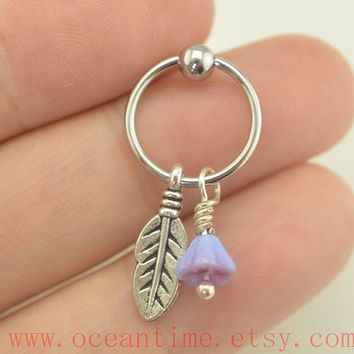 Tragus Earring Jewelry,purple flower Cartilage Hoop Earring leaf and flower Helix Cartilage jewelry,oceantime