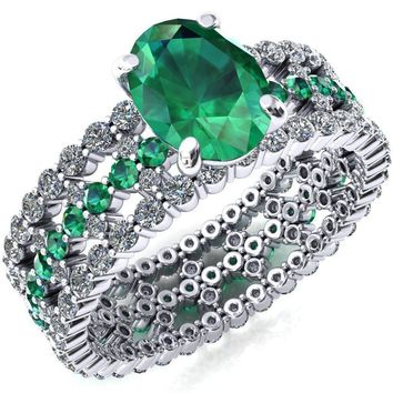 Lacy Oval Lab-Created Emerald Full Eternity Emerald and Diamond Accent Ring