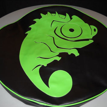 Spare Tire Cover Lime Green Iguana
