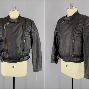 1970's Vintage / Cafe Racer Jacket / Leather Motorcycle Jacket / Berman's Biker Jacket / Padded Leather / YKK Zippers & Snaps