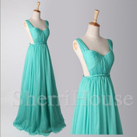 Ruffled Strapless straps Backless Long Bridesmaid Celebrity dress ,Floor length Chiffon Evening Party Prom Dress Homecoming Dress