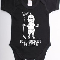 Future Ice Hockey Player Babygrow Suit Unique Baby Shower Gift Baby Vest Clothes-0/3 Black - White Print: Baby