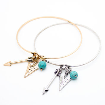 Arrow charm bangle bracelet