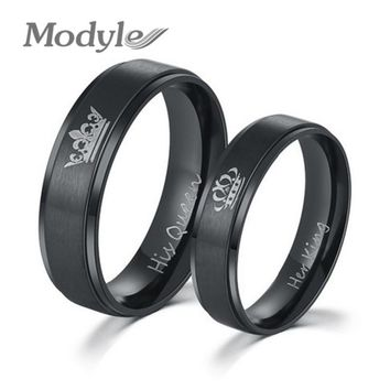 Modyle 2017 New Fashion DIY Couple Jewelry Her King and His Queen Stainless Steel Wedding Rings for Women Men