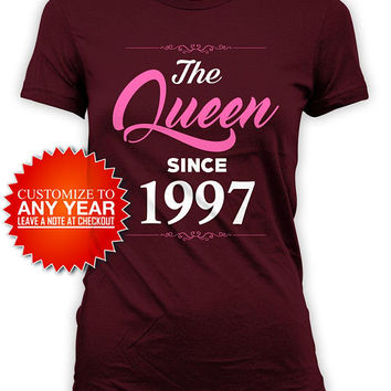 21st Birthday Gift Ideas For Her Bday T Shirt Birthday Outfit Customized TShirt Personalized The Queen Since 1997 Birthday Ladies Tee -BG589