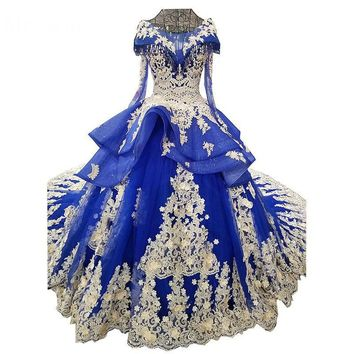 Blue Wedding Dress The Elegant O-neck Classic Lace Embroidery Sweep Train Ball Gown Long Cap Sleeve Vintage Bridal Dress