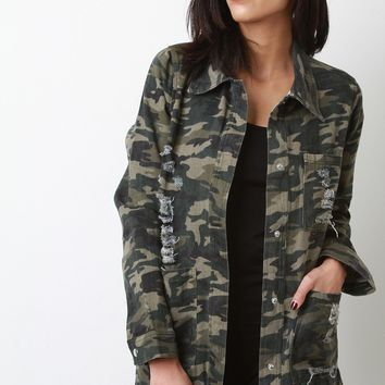 Distressed Camouflage Button-Up Jacket