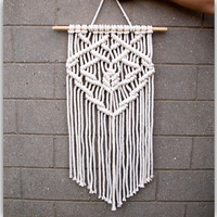 Boho wall hanging tapestry Macrame wall art Macrame wall hanging White living room decor Bohemian home decor Eco-friendly wall decor