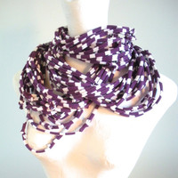 Plum Purple White Striped Infinity Scarf Upcycled Chunky Cowl Scarf Eco Friendly Loop Scarf Aubergine Spring Fashion