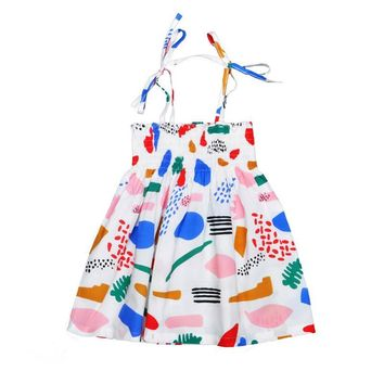 Bobo Choses Baby Girls Clothes Summer Beach Style Toddler Girls Dresses Kids Costume 2017 Bohemian Shoulderless Baby Girl Dress