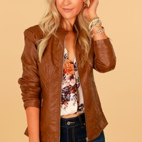 Vegan Leather Jacket Camel
