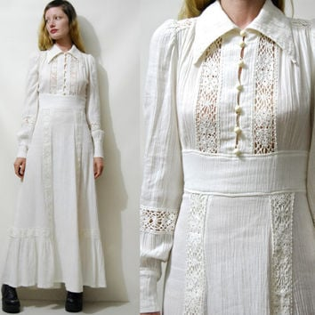 70s Vintage CHEESECLOTH Off White Dress CROCHET Lace Trim Puff Sleeve Long Maxi Cotton Prairie Boho Hippie Bohemian Wedding 1970s vtg xs s