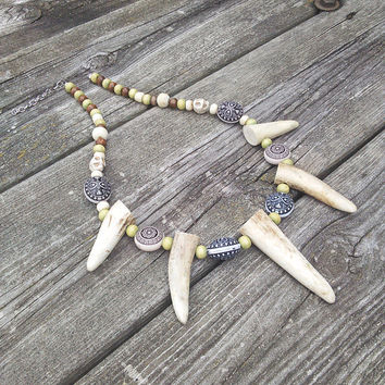 Men's Elk Antler Buffalo Bone Necklace,Horn Necklace,Pagan Vertebrae Bone Jewelry,Tribal Leather Necklace,Shaman Warrior Gypsy Larp Cosplay