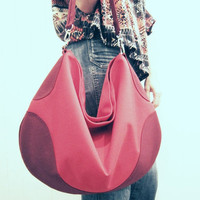 BLACK CYBER SALE Red Ombre Nylon Hobo Bag - Water Resistant Cordura Purse