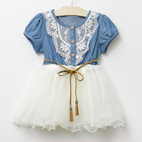 Girls Lace Denim Tutu Dress