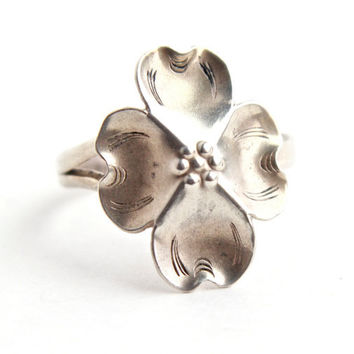 Vintage Sterling Silver Dogwood Ring - Stuart Nye Adjustable Floral Costume Jewelry / Mid Century Flower