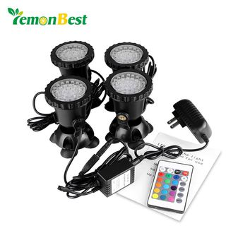 4pcs Aquarium Led Lighting Remote Control RGB 36-LED Underwater Spot Light IP68 for Water Garden Pond Fish Tank Light