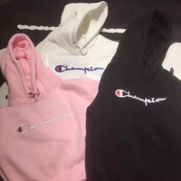 Champion Fashion Embroidery Hooded Top Sweater Hoodie