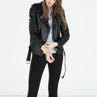 Zipped leather biker jacket