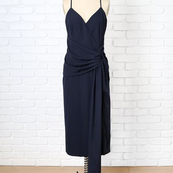 Navy Surplice Knotted Midi Dress