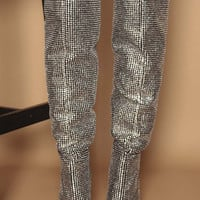 Foxy Diamante Studded Slouch Boots in Black Vegan Suede   Women's Heels, Boots & Shoes