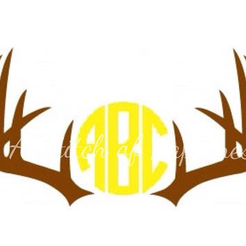 Monogram Antler Decal - Deer Antler Monogram Vinyl Car Sticker -