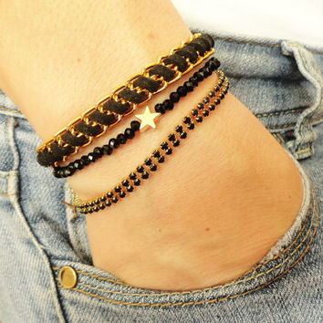 Black bracelet set, star charm jewelry black accessories bracelet stack arm candy stack arm party set, set of bracelets, 2013 jewelry trends