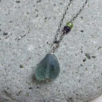 Raw Green Fluorite Necklace, Gemstone Amethyst Peridot, Oxidized Sterling Silver, Rustic Necklace