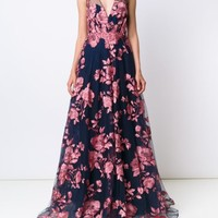 Marchesa Notte Embroidered Flower Gown - Marchesa - Farfetch.com