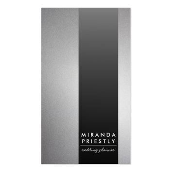 Chic Black and Silver Stripe Luxe Wedding Planner Business Card