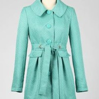 Hasty Departure Fan Pattern Tie Waist Coat in Aqua | Sincerely Sweet Boutique
