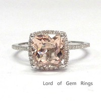 Cushion Morganite Engagement Ring Pave Diamond Wedding 14K White Gold, 8mm