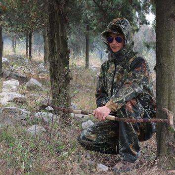 Men's Spring Autumn Outdoor Hunting Suit Leaves Camouflage Hunting Clothes Hunting Uniform Hoodie and Pants Men Fishing Clothes