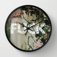 fuck; Wall Clock by Pink Berry Patterns