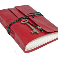 Red Leather Journal with Skeleton Key Bookmark