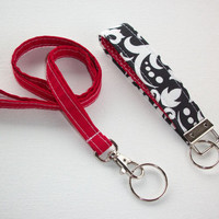 Lanyard and Key fob Keychain Set - red - balck damask red dots - teacher gift, coworker gift, gift for her, under 20