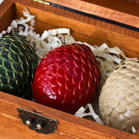 Dragon Egg Ornaments in Wooden Chest -- Game of Thrones inspired (Set of 3) Handmade Egg Ornaments in Chest
