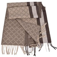 Gucci Men's 333019 Angora Wool Taupe Brown Web Stripe Diamante Scarf O/S