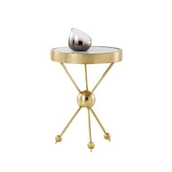 HERO BRUSHED ANTIQUE BRASS WITH WHITE MARBLE TOP END TABLE
