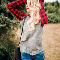 PREORDER - Cabin Fever Plaid Contrast Knit - Red