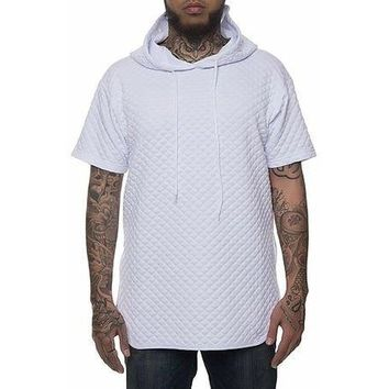 Quilt Pullover Hoodie in White