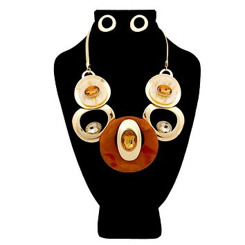 Gold with Brown Crystal and Swirled Circular Details Bib Necklace Set