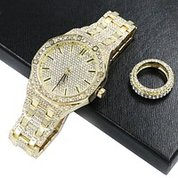 HIPHOP RAONHAZAE POST MALON GOLD FINISHED LAB DIAMOND WATCH & RING SET.