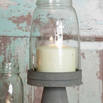 Mason Jar Chimney w/ Rustic Barn Roof StandQuart Candle Holder