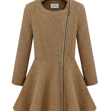 Long Sleeve Side Zip Woolen Dress Coat