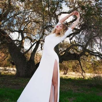 Lurelly's Santorini Gown - High slits white maxi dress